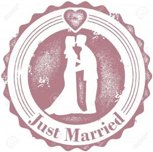 12956998-Vintage-Stamp-Wedding-Just-Married-Archivio-Fotografico